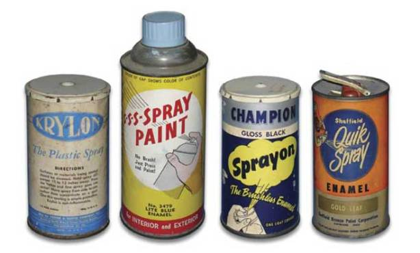 the first spray paint cans